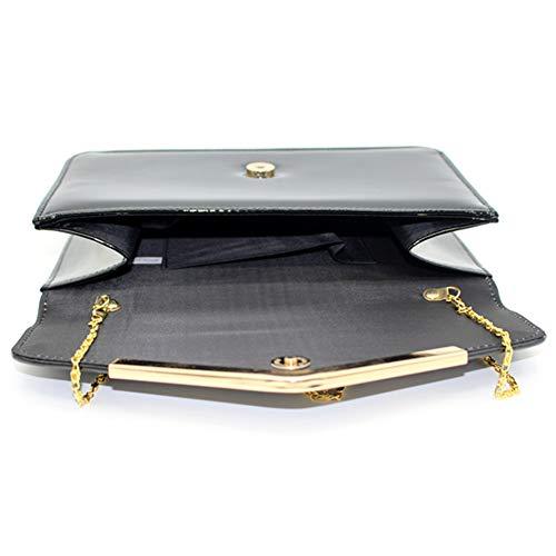 Bag Patent Prom Ladies Smart Leather Bag Women Party Envelope Evening Black Clutch Hx8qTRO7