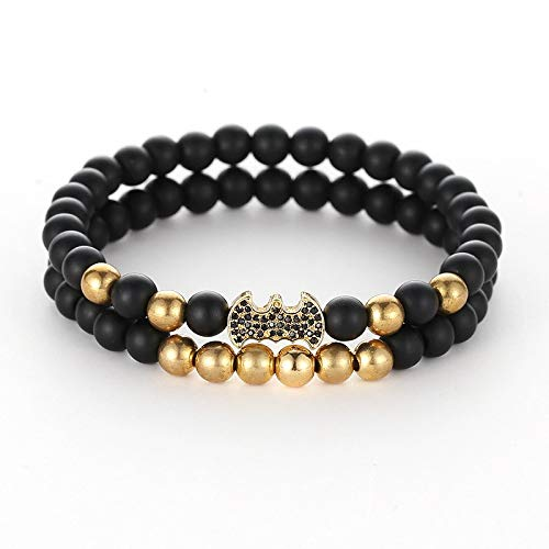 Trendy Lava Stone Pave Cz Imperial Crown and Helmet Charm Bracelet for Men Or Women Bracelet Jewelry Pulseira Hombres ()