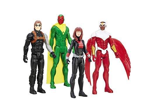 "Marvel Avengers Super Hero 12"" Action Figures 4-Pack Collection, Titan Hero Series- Black Widow, Falcon, Vision, Winter Soldier"
