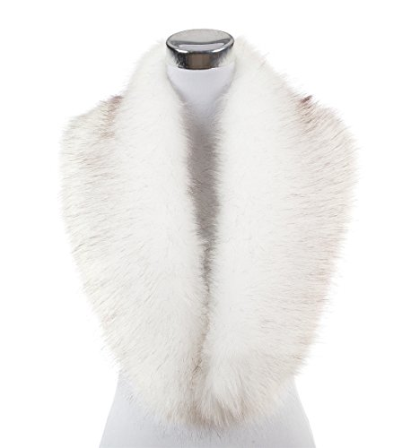 Lucky Leaf Women Winter Faux Fur Scarf Wrap Collar Shrug for Wedding Evening Party (White with Black Apex (Long Fur)