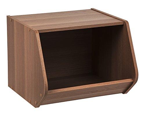 IRIS USA, SBO-DB, Modular Wood Stacking Open Storage Box, Dark Brown, 1 Pack