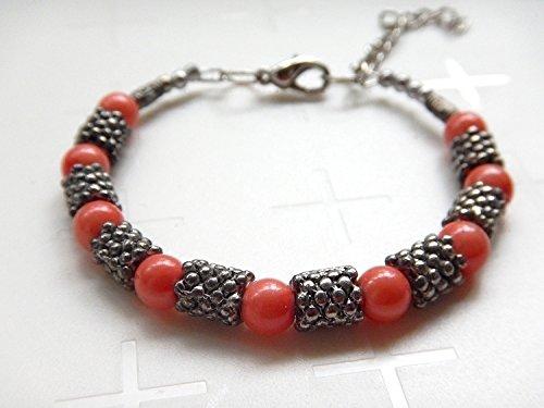 [Flowers] Tibetan silver beads bracelet handmade jewelry red coral