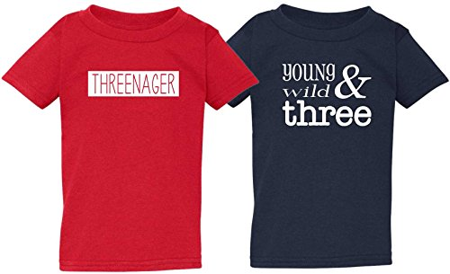 Kid Allstar ' Threenager ' and ' Young, Wild, Three ' Little Toddler Baby Boys Cute 3rd Birthday Tee Shirt 2-Pack Set (4T)