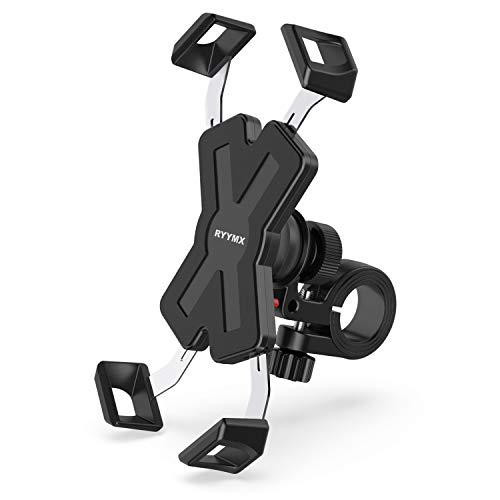 Bike Phone Mount - RYYMX Bicycle Phone Holder : 360° Rotation Adjustable Motorcycle Phone Mount for iPhone Xs Max XR X 8 7 6 Plus, Samsung S10+ S9 S8, Note 10 9 8, GPS, 4-7 inches Android Cell Phones (Street Bike Phone Holder)