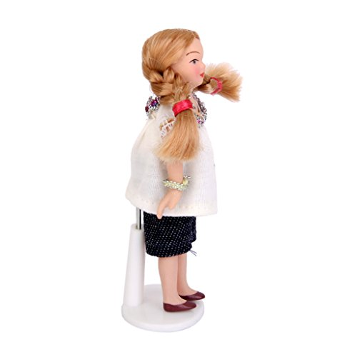 MagiDeal Dollhouse Miniature Doll Figure Porcelain People Little Girl White T-shirt Stand 12th Scale