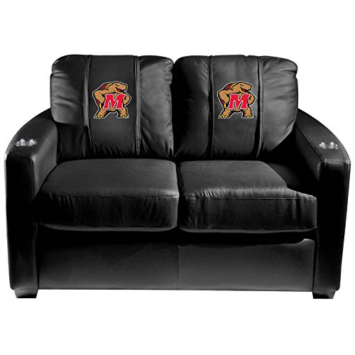 XZipit College Silver Loveseat with Maryland Terrapins Logo Panel, Black