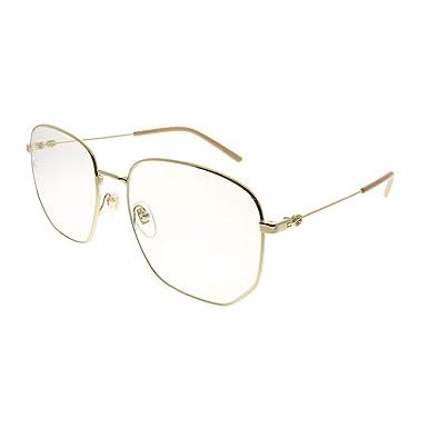 6e960fa9b402 Amazon.com: Gucci GG 0396S 001 Gold Metal Square Sunglasses Transparent  Lens: Clothing