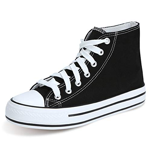 KUNSHOP Womens Wedges Sneakers High-Heeled Casual High Top Canvas Shoes Fashion Platform Sneakers with Hidden Heel