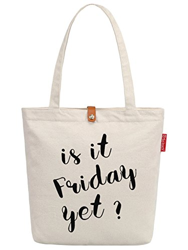 So'each Women's Is It Friday? Letters Graphic Top Handle Canvas Tote Shoulder Bag