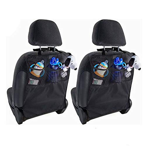(New Hope Pro Kick Mats, 2 Pack- Car Seat Back Protectors, Great Travel Accessories and Non-Flimsy Waterproof Organizer for Kids, Toddlers Toys, Plus 2 Emoji Smiley Face Air Fresheners for Vehicles)
