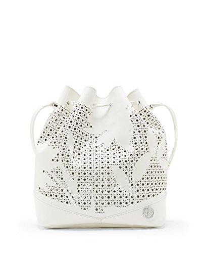 Image of Vince Camuto Suzzi Perforated Drawstring Handbag Snow White