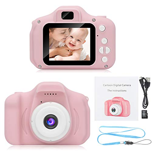 DDGG Kids Digital Camera Toy Camera HD Kids Video Cameras Shockproof Cameras with Soft Silicone Shell Gift for 4-10 Years Old Girls Boys Party Outdoor Play (16G SD Card Included) (Pink)