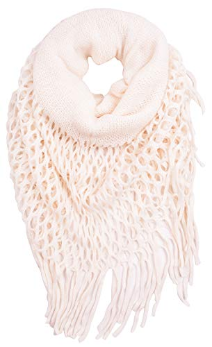 Cream Brush Fringe - CEAJOO Women's Infinity Scarves Knit Winter Warm with Fringe Lightweight Cream
