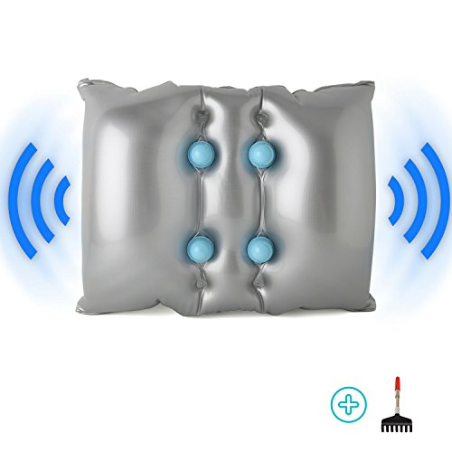 FOMI Vibrating Massage Pillow for Back, Neck, and Feet Pain Relief, Cordless. Pressure Activated plus Free Bonus Extendable Back Scratcher.