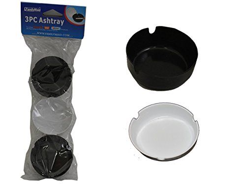 3 PC Plastic Ashtrays , Case of 96 by DollarItemDirect
