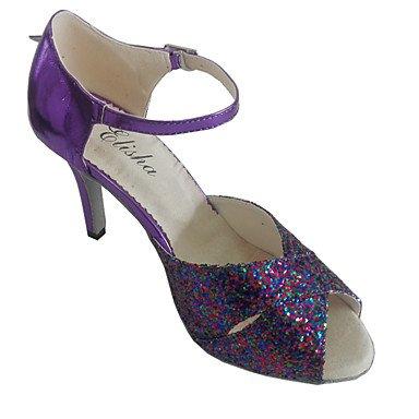 XIAMUO Latein individuelle Damen Sandalen angepasste Heel Lady Dance Schuhe, Lila, UNS 6,5-7/EU 37/ UK 4,5-5/CN 37