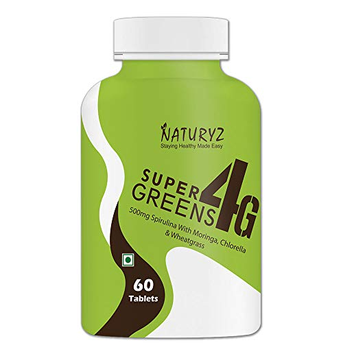 Naturyz Super Greens 4G daily Wholefood Multivitamin, antioxidant Supplement for Immunity and Detox with 4 Plant Superfoods (1000mg Spirulina, 400mg Moringa, 400mg Chlorella & 400mg Wheatgrass per serving) - 60 tablets (B07YG89MTW) Amazon Price History, Amazon Price Tracker
