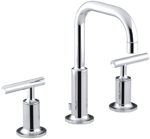 KOHLER Purist K-14406-4-CP Widespread Bathroom Sink Faucet with Metal Drain Assembly in Polished Chrome