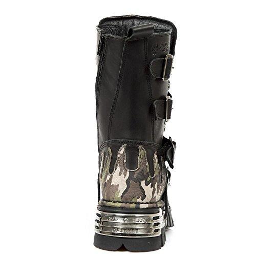 Bottes New Rock 591 S15 gothique motard camouflage flamme métallique cuir noir