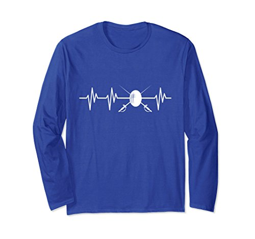 Unisex Sword Fencing Heartbeat Funny Fencing Fencer T Shirt Gift 2XL Royal Blue