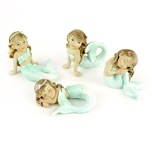 Set Of 4 Miniature Garden Resin Mermaids 3.5 Inches