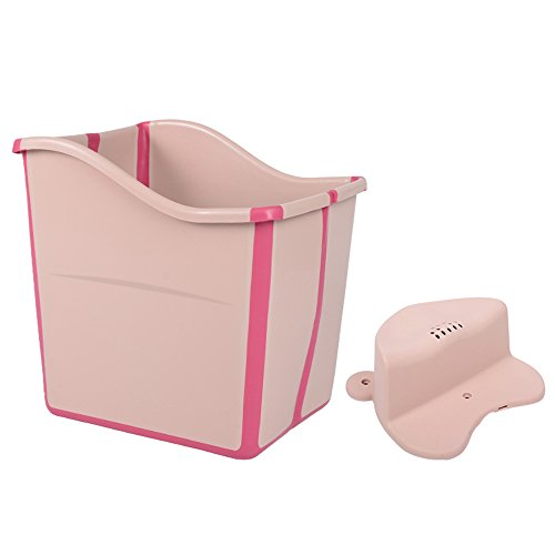 Kxtffeect Child Folding Portable Wash Large Oversized Bath Tub with Bath Stool Baby Tub (Pink) by Kxtffeect