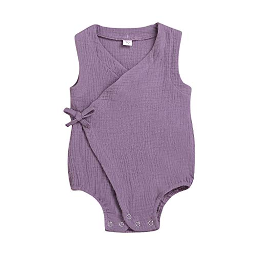 LiLiMeng Summer Infant Baby Boys&Girls Sleeveless Cross Bow Tie Solid Print Romper Bodysuit Casual Clothes ()