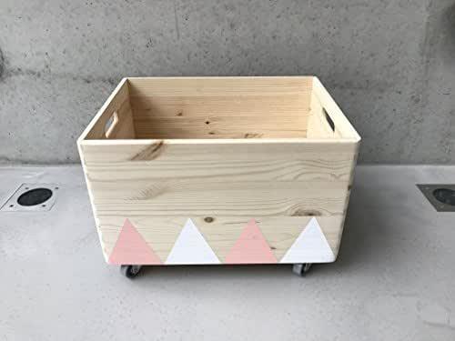 Caja de Juguete de Madera Rosa Blanco - Triángulo Escandinavo Rollers
