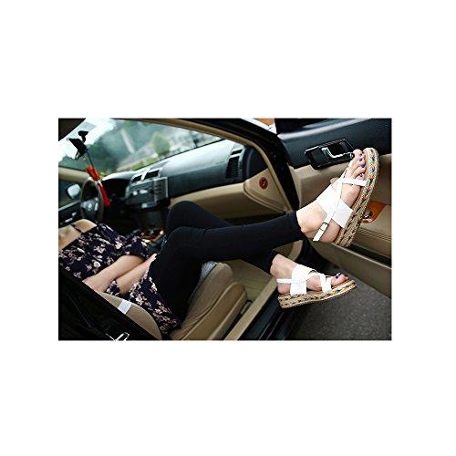 OCHENTA Zapatillas de Moda Sandalias Alpargatas Abierto de Plataforma Tobillo Mujer #09 Blanco