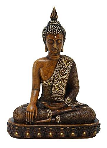 Benzara Asian-Themed Sitting Polystone Buddha Sculpture, 15 by 12