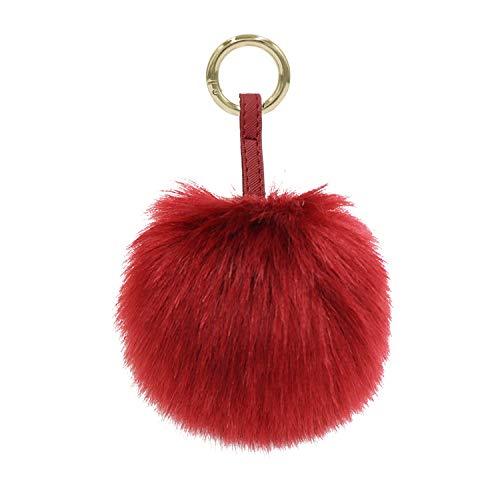 Aiphamy Faux Fur Pom Pom Keychain Purse Bag Charm Fluffy Ball Key Chain for Women (Burgundy) (Fur Faux Ring Key)
