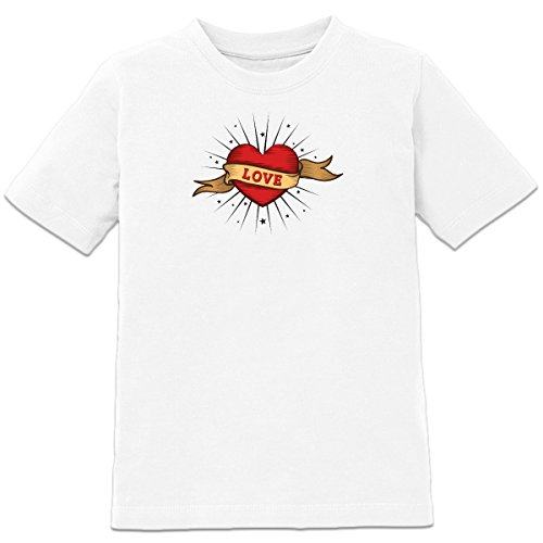 Shirtcity Love Old School Tattoo Kids' T-shirt 98-104 White