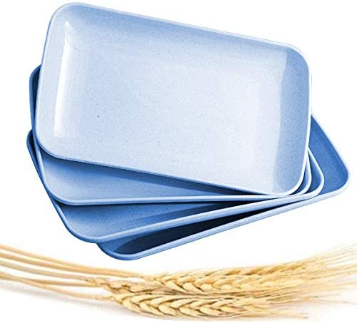 BLUE BPA free plates,Dishwasher Microwave Safe Plates,Reusable Plate for Fruit Snack Container. choary Lightweight Unbreakable Wheat Straw Plate Healthy Eco-Friendly Degradable fruit Dishes