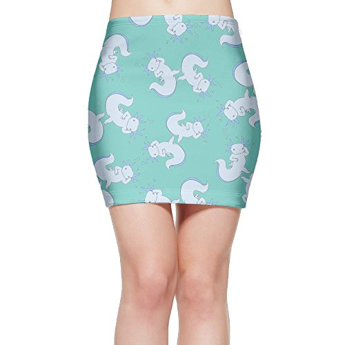 SKIRTS WWE Cute-Axolotl-Novelty Women Slim Fit High Waisted Mini Short Skirts by SKIRTS WWE