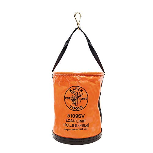 (Tool Bucket, Vinyl Lineman Bucket with Swivel Snap and Web Handle, 12-Inch, 100-Pound Load Rated Tool Holder Klein Tools 5109SV)