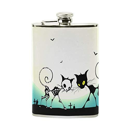 (FFR EGM HAQSK CUFD Drinking Vessel Halloween Skull Cats Stainless Steel l Hip Flask,Pocket Flagon,Eco-Friendly Art,Indoor/Outdoor Wine Jar)