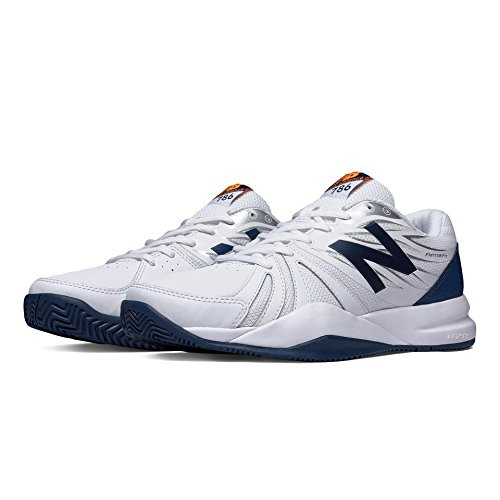 New Balance Men's Cushioning Tennis Shoe, White/Blue, 12 2E US