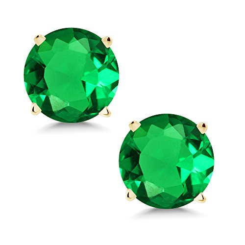 Gem Stone King 1.54 Ct Round 6mm Green Simulated Emerald 14K Yellow Gold Stud Earrings