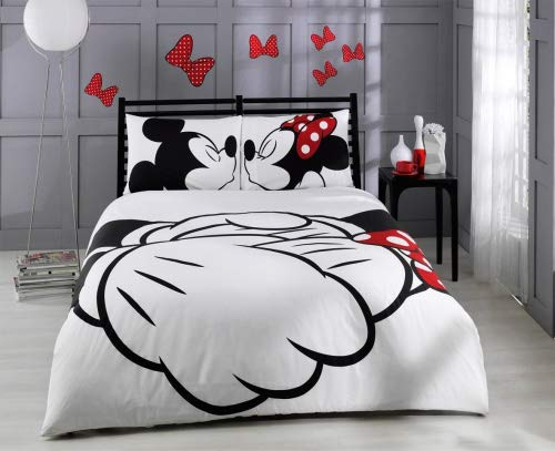 Paris Home 100% Cotton 5pcs Disney Minnie Loves Kisses Mickey Mouse Full Queen Size Comforter Set Heart Theme Bedding Linens ()