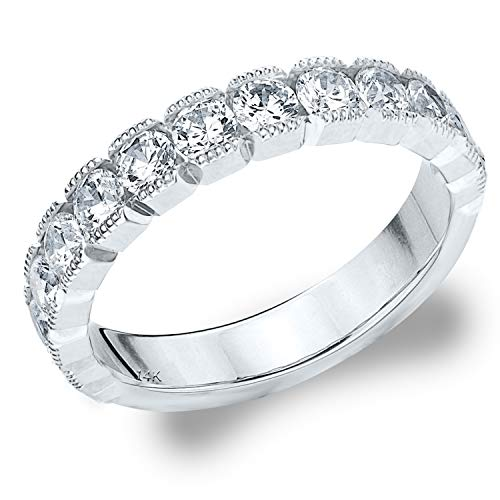 1.0 CTTW Riviera Diamond Wedding Ring, 1CT Milgrain Anniversary Ring in 14K White Gold - Finger Size 6