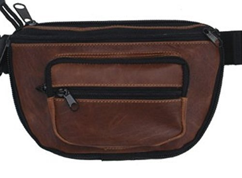 Small - DTOM Concealed Carry Fanny Pack Buffalo/Bison Leather-Tan
