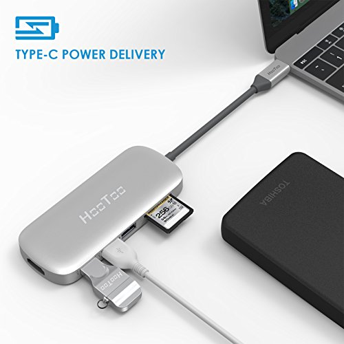 USB C Hub, HooToo USB C Adapter 3.1 with Type C Charging Port, HDMI Output, Card Reader, 3 USB 3.0 Ports for MacBook Pro 2015/2016, Google Chromebook 2016/2017 and more USB C Devices – Silver