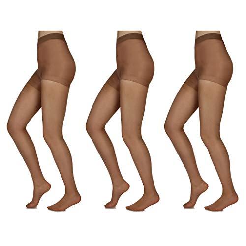 (Silky Toes Control Top Sheer Pantyhose 3 Pk (Large, Honey (3 Per)