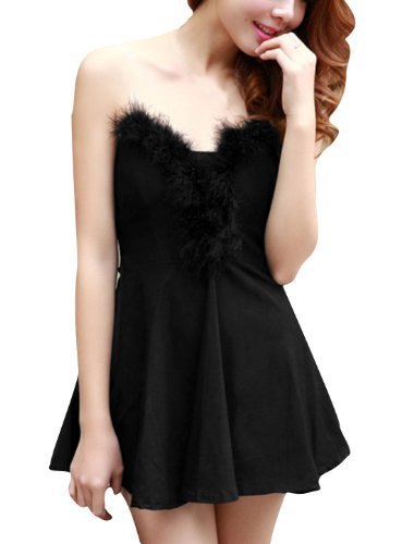 Magentoo(TM) Women Strapless Hidden Zipper Faux Fur Invisible Shoulder Strap Dress