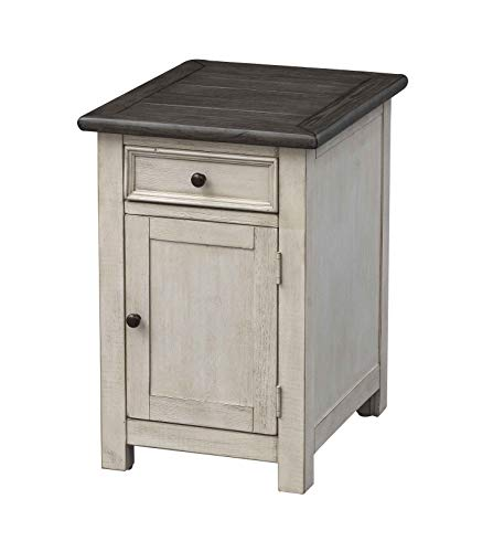 Treasure Trove 36537 St. Claire Door One Drawer Chairside Cabinet End Table Ivory ()