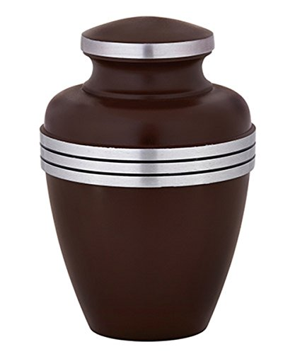 Aluminum Memorial Urn with Silver Toned Three Band Design, 9 1/2 Inch