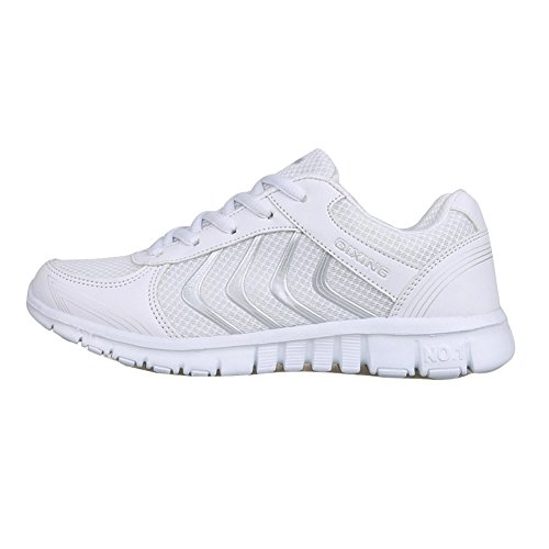Athletic Mesh Breathable Sneakers Running Sports Shoes For Women/Ladies/Girls (US 7, White)