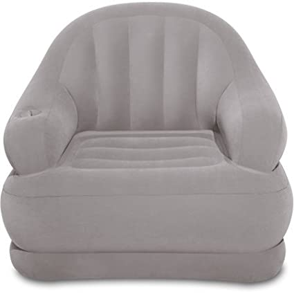 Intex Inflatable Camping Chair In Gray Durable 2 Ply Reinforced Bottom Soft Flocked