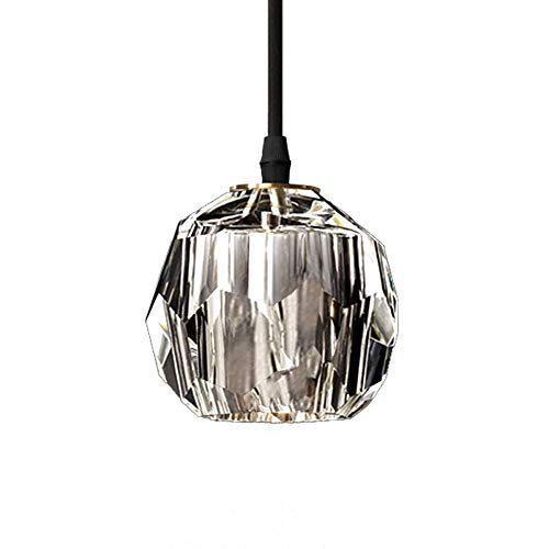 FTLY Crystal Creative Mini Hanging Lamp Personality Simple Glass Pendant Light E27 Window Beauty Salon Decoration Ceiling Light Bar Bathroom Living Room Dining Room Droplight