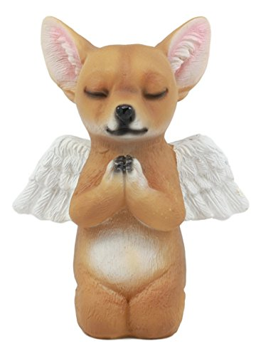 Ebros Adorable Praying Angel Chihuahua Dog Pet Memorial Statue Inspirational Heavenly Taco Chihuahua Puppy Sculpture Decor